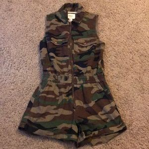 Forever 21 Camo Zip up Romper
